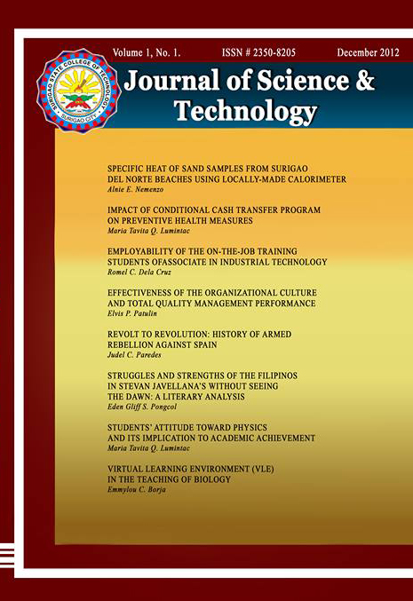 Vol 1, No 1 (2012) SSCT Journal of Science and Technology